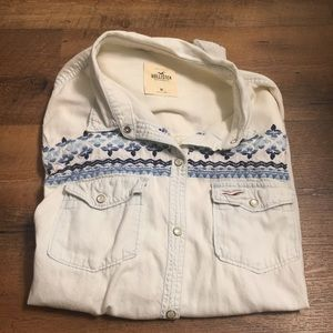 Embroidered Chambray Long Sleeve Button Up